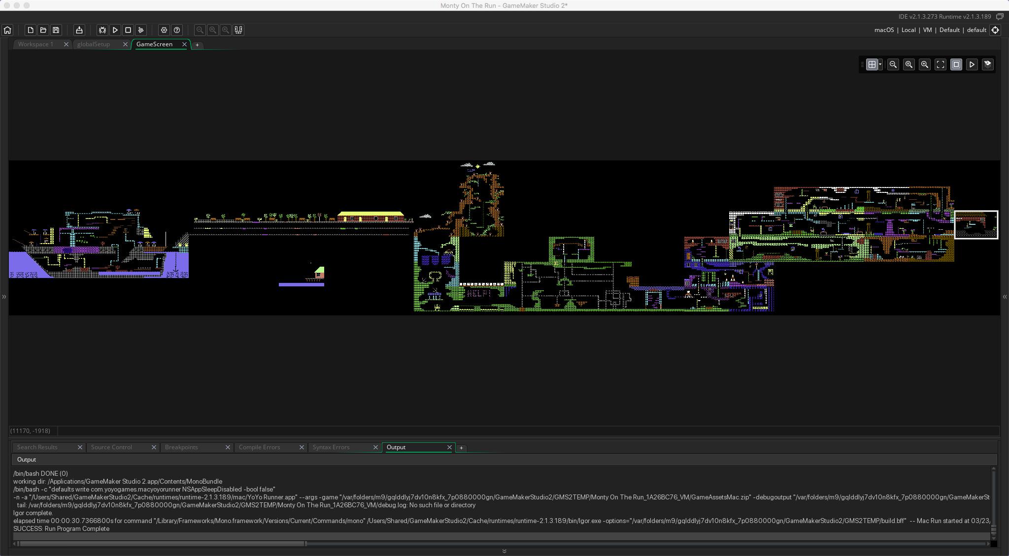 The game map inside Game Maker Studio.